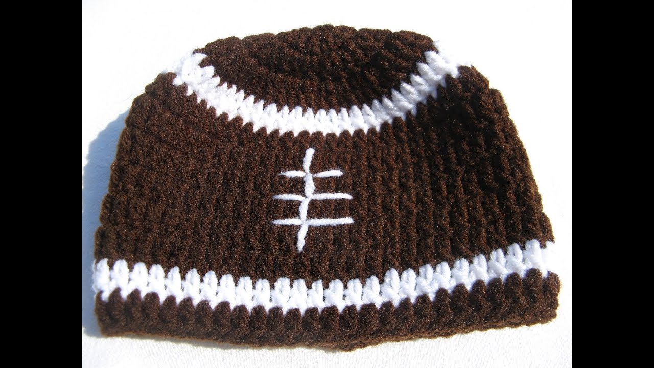 cd35f2ff8d35f How to crochet a football beanie - Tambien en espanol - YouTube