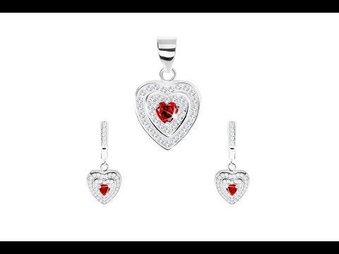 53b8d6c56 Šperky - Strieborný set 925, prívesok a náušnice, kontúra kvietku, červený  zirkón