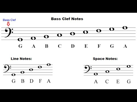 Music Theory For Beginners - Bass Clef - Identifying Notes - YouTube - base cleff