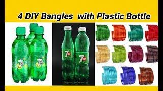 4 DIY Bangles making with plastic bottles