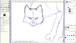 How to Draw a Wolf Lineart.avi