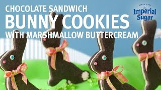 Chocolate Bunny Sandwich Cookies With Marshmallow Buttercream