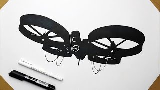 Drone Trick Flip Test and Drawing CyberQuad Quadcopter