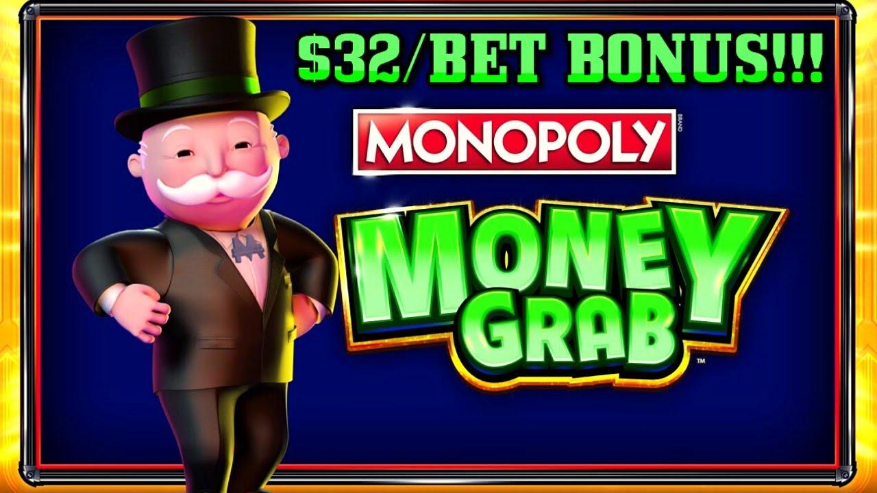 High Limit Monopoly Money Grab ~ $32 Bonus Round Slot Machine Casino