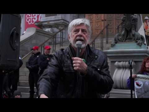 Montreal Environmentalists Protest Outside Montreal City Hall 00083