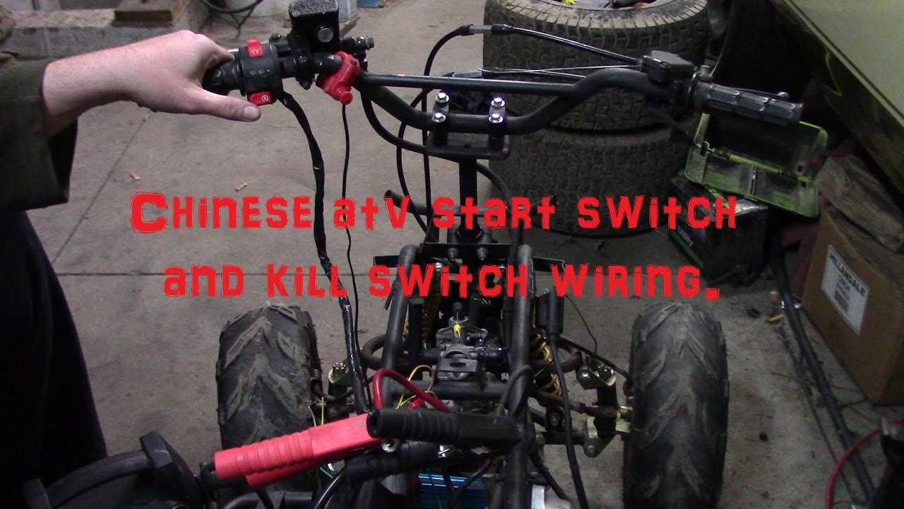 loncin 110cc atv wiring diagram bodine electric motor chinese start button and kill switch youtube