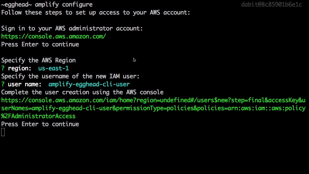 Installing & Configuring the AWS Amplify CLI