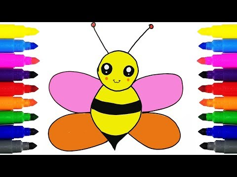 How to Draw a Honey Bee | Drawing and Coloring Bee for Kids Learning Colors
