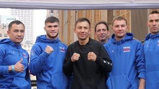 Головкин и Деревянченко провели открытую тренировку перед боем в США