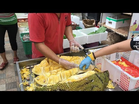 Cutting & Serving 25 KG of Jackfruit in Singapore Market - Asian Food Channel