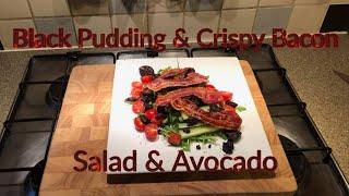 Black Pudding And Crispy Bacon Salad And Avocado