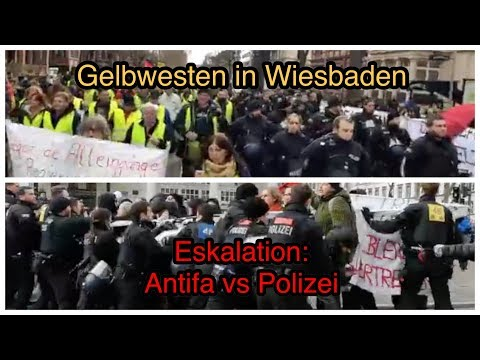 Gelbwesten in Wiesbaden: Kräftemessen zwischen Antifa und Polizei!
