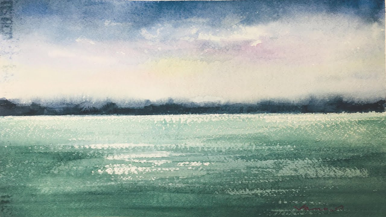 Glitter on the Lake Balaton - Watercolor Painting - Slow Life Art - By Vamos