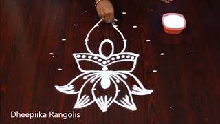 simple & easy lotus deepam muggulu with 6x3 dots l small daily kolams l new rangoli designs