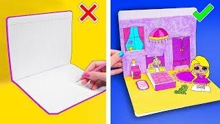 12 ЛАЙФХАКОВ для рисования и Поделок из Бумаги! КАК СДЕЛАТЬ БУМАЖНУЮ КУКЛУ Идеи для Школы LIFE HACKS