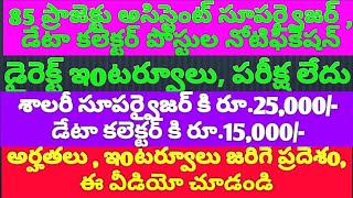 85 PROJECT SUPERVISOR & DATA COLLECTORS JOBS IN AP . INTERVIEW DATES  NOVEMBER 27TH & 29TH.