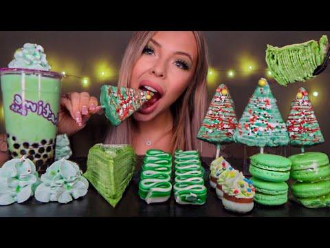 ASMR EDIBLE CHRISTMAS TREES, CANDY RIBBON, BUBBLE TEA, MATCHA CREPE CAKE, MERINGUE MUKBANG 먹방