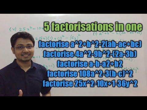 Factorise (i) a^2+b^2-2(ab-ac+bc) (ii) 4a^2-9b^2-(2a-3b) (iii) a-b-a2+b2 (iv) 108a^2-3(b-c)^2 (v)