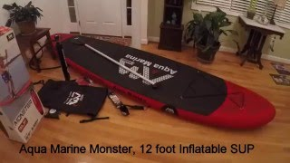 Aqua Marine Monster SUP Review 12 foot SUP INFLATABLE Paddle board