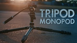 this tripod turns into a monopod