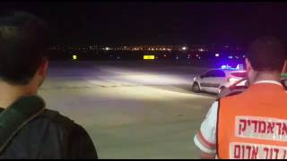 انفجار العجلة يجبر طائرة إسرائيلية على الهبوط اضطراريا