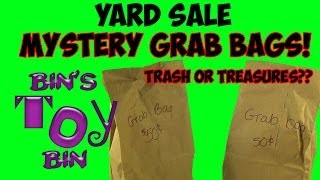 Mystery Yard Sale Grab Bags! Trash or Treasures? Opening by Bin's Toy Bin