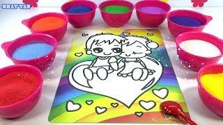 Một Đoàn Tàu! Đồ Chơi Trẻ Em! TÔ MÀU TRANH CÁT NGHỆ THUẬT - Colored Sand Painting!