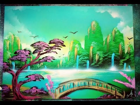 Oriental Landscape Tutorial Spray Painting Art – Sacha Walker ITA 2018