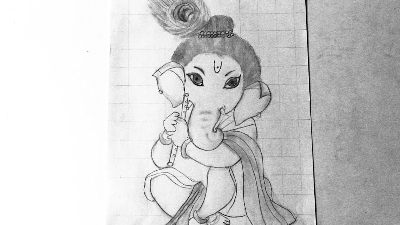 Easy Lord Ganesh Pencil Sketch using grid || Pencil sketch ...