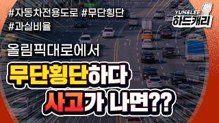 자동차 전용 도로, 보행자의 무단횡단 사고…차량도 과실…