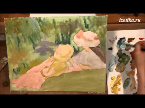"""Ренуар """"Девушки на берегу"""". Копия картины. Акрил и масло. Часть 1"""