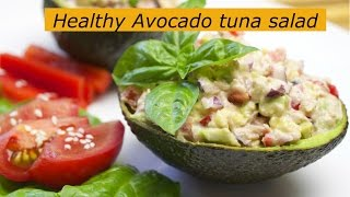 Healthy Avocado tuna salad. Tuna stuffed avocado. Easy lunch. Healthy food