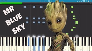 Скачать ELO Mr Blue Sky Piano Tutorial Guardians Of The Galaxy Vol 2 Groot Song