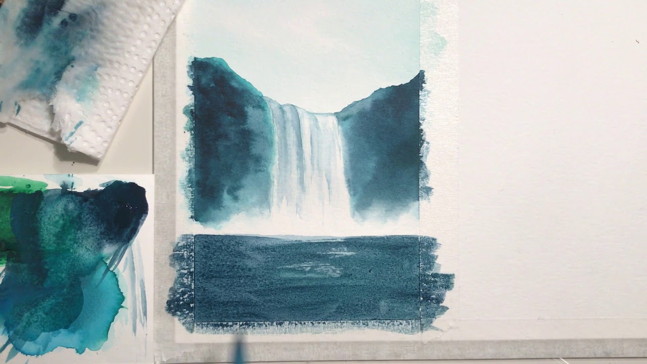 easy waterfall watercolor tutorial