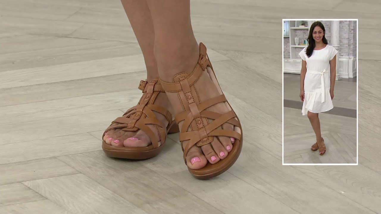 Clarks Collection Leather Sandals - Loomis Katey on QVC - YouTube