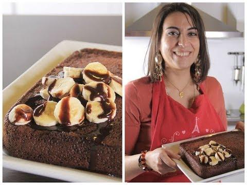 طريقة عمل كيكة شوكولاتة وموز   مع فاطمة