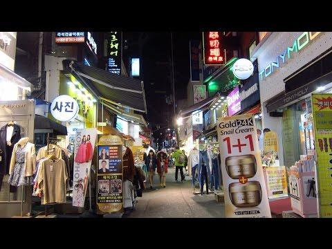Shopping and night life around Ewha Womans University, Seoul, South Korea