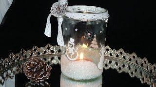 DIY Winter Windlicht Glitzer Glitter selbstgemacht Tutorial Weihnachten