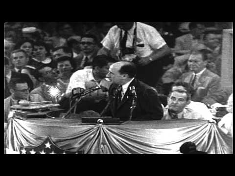 Adlai Stevenson delivers a speech during the 1956 Democratic National Convention ...HD Stock Footage