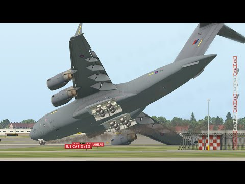 Craziest Landing From Military Aircraft C-17   X-Plane 11