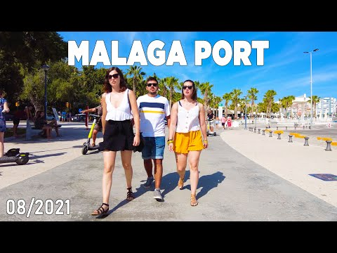 Malaga Port, Spain Walking Tour in August 2021 [4K]
