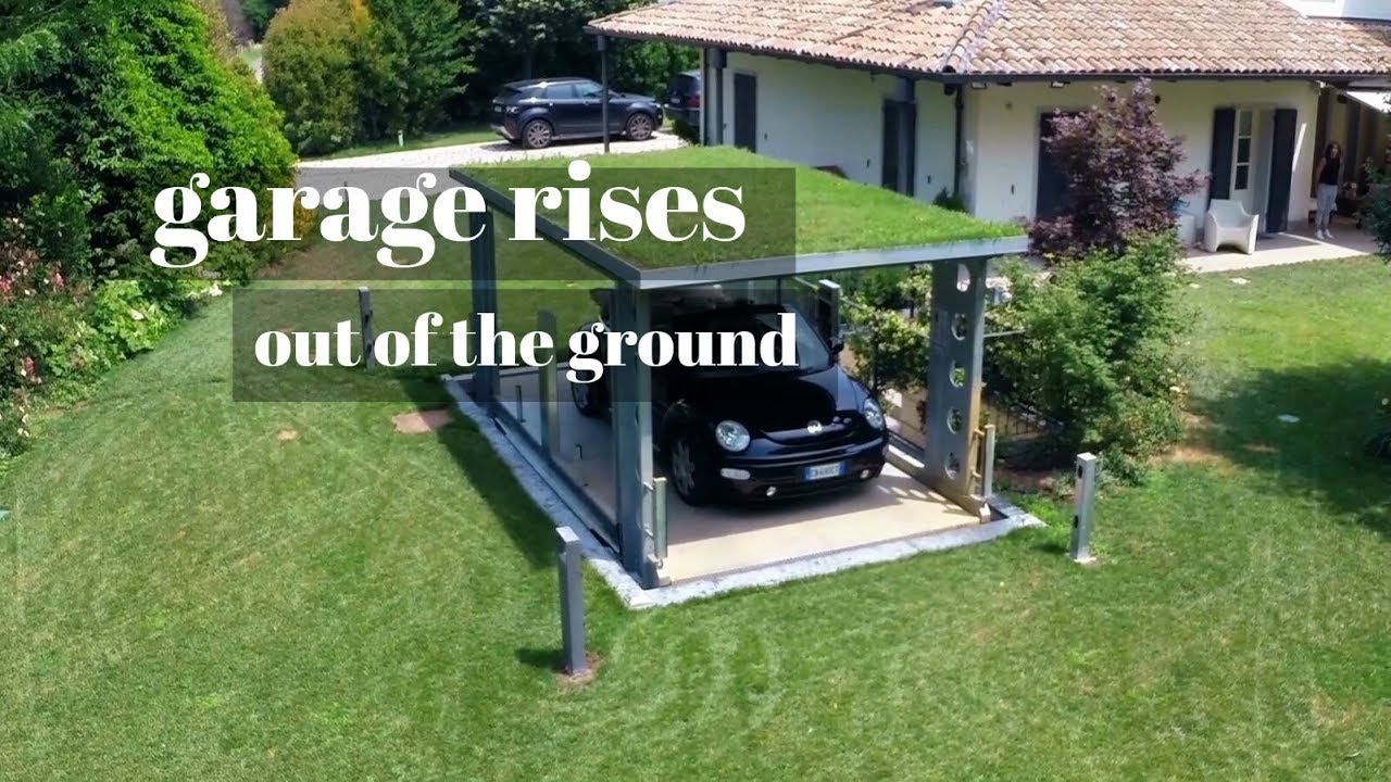 In Ground Garage Car Lift Garage Rises Out Of The Ground Underground Garage James Bond Style