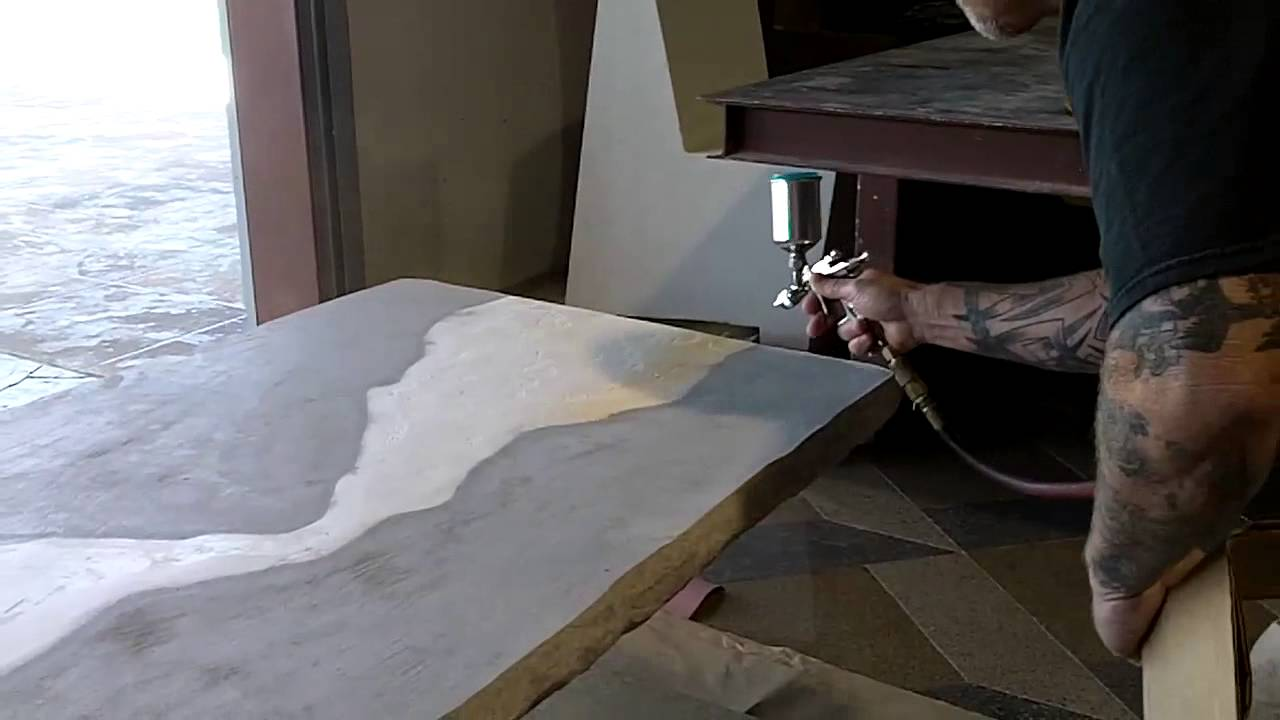 Decorative concrete countertop youtube for How to make designs in concrete