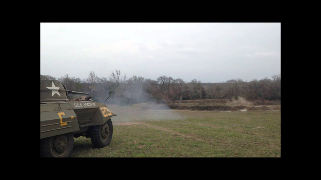 Firing The 37mm Cannon On The M8 Greyhound Armored Car