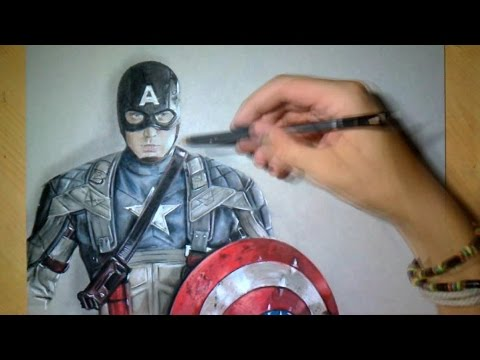 Drawing time lapse captain america realistic art youtube - Dessin captain america ...