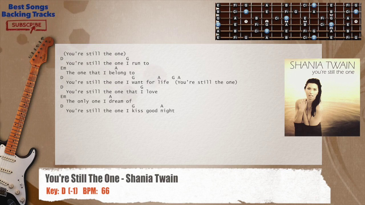 Youre Still The One Shania Twain Guitar Backing Track With Chords