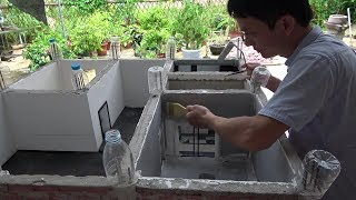 Villa Model: Making Flume and Induction Faucet--Painting the Wall of Restaurant 橱柜水槽制作与墙面刷漆