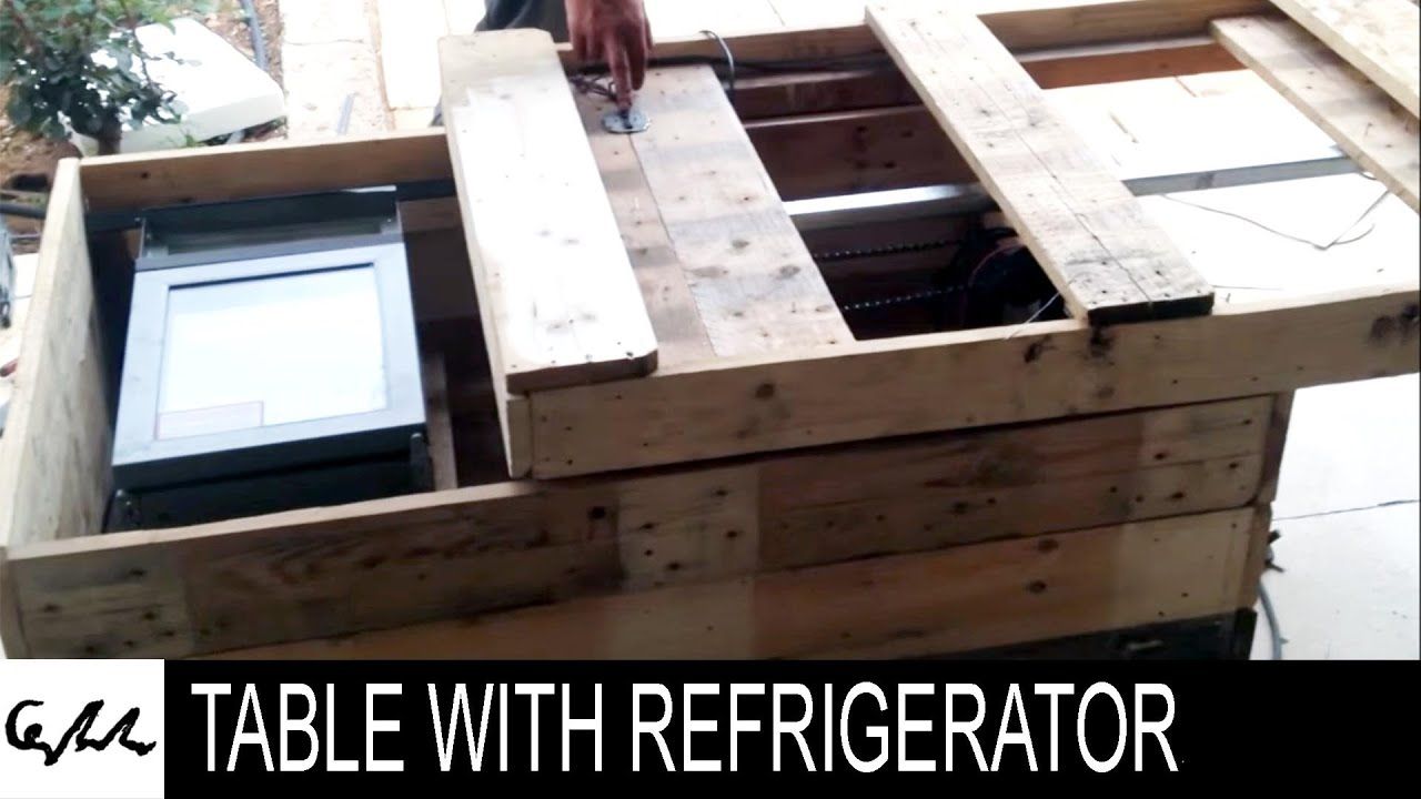 Refrigerator Coffee Table.Diy Extreme Coffee Table With Refrigerator Made From Pallets