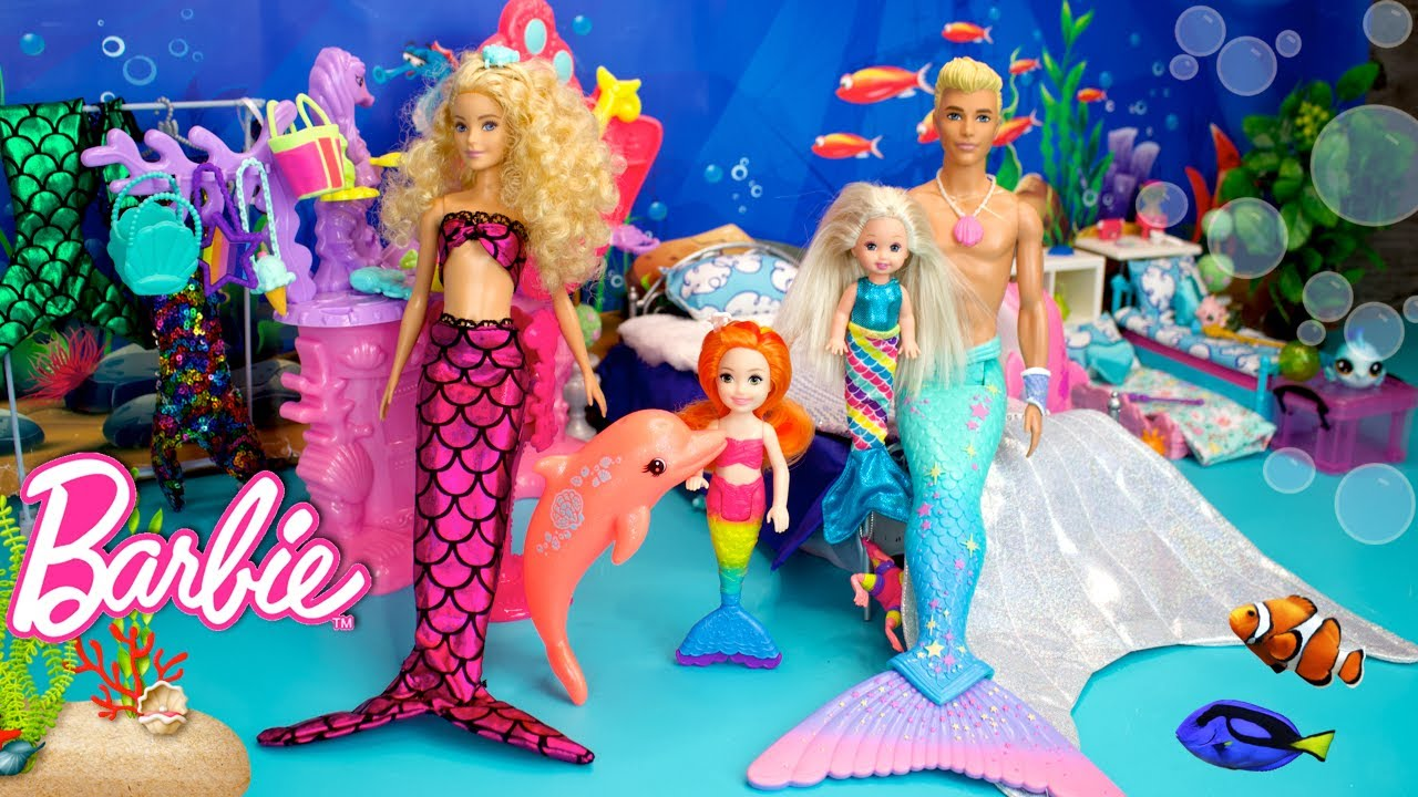 Barbie Mermaid Family Doll Morning Routine Story