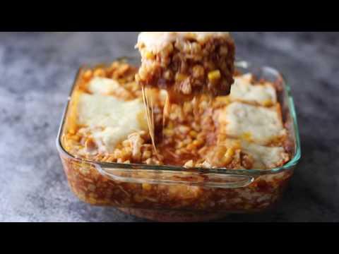 Cauliflower Rice & Chicken Enchilada Casserole